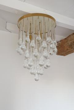 Mid Century Modern Brass and Murano Clear Glass Drops Flush Mount ceiling Light - 1205603