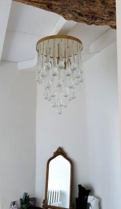 Mid Century Modern Brass and Murano Clear Glass Drops Flush Mount ceiling Light - 1205604