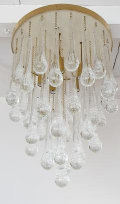 Mid Century Modern Brass and Murano Clear Glass Drops Flush Mount ceiling Light - 1205606