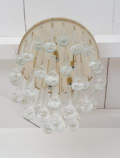 Mid Century Modern Brass and Murano Clear Glass Drops Flush Mount ceiling Light - 1205608