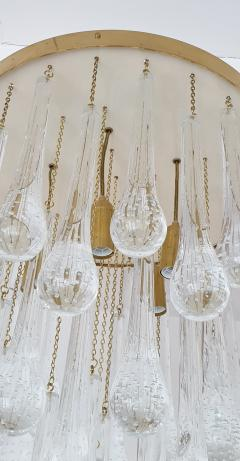 Mid Century Modern Brass and Murano Clear Glass Drops Flush Mount ceiling Light - 1205610