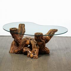 Mid Century Modern Burled Driftwood Cocktail Table with Amorphic Glass Top - 1950189