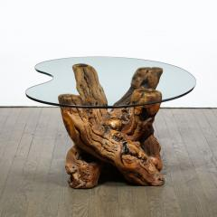 Mid Century Modern Burled Driftwood Cocktail Table with Amorphic Glass Top - 1950205