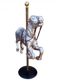 Mid Century Modern Cast Aluminum Mounted Carousel Horse Sculpture Worlds Fair - 2058901