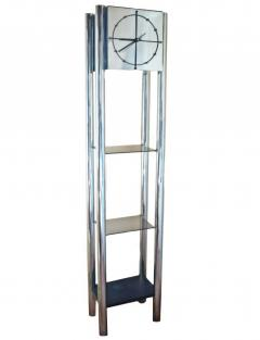 Mid Century Modern Chrome Standing Grandfather Clock Shelves Shelving tag re - 1796958