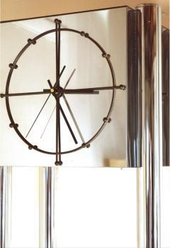 Mid Century Modern Chrome Standing Grandfather Clock Shelves Shelving tag re - 1796959