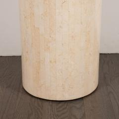 Mid Century Modern Cylindrical Tessellated Limestone Pedestal - 1560310