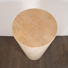 Mid Century Modern Cylindrical Tessellated Limestone Pedestal - 1560366