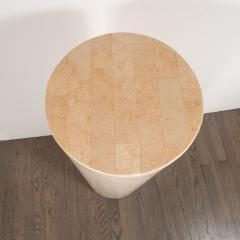 Mid Century Modern Cylindrical Tessellated Limestone Pedestal - 1560370