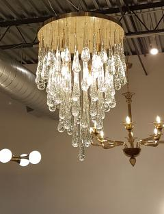 Mid Century Modern Dlightus Bespoke Brass Murano Glass Drop Flush Mount - 547845