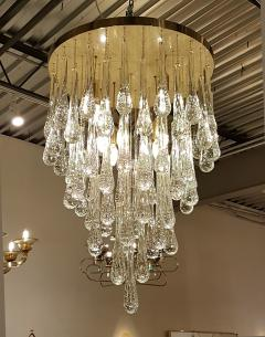 Mid Century Modern Dlightus Bespoke Brass Murano Glass Drop Flush Mount - 547847