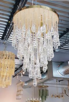 Mid Century Modern Dlightus Bespoke Brass Murano Glass Drop Flush Mount - 547848