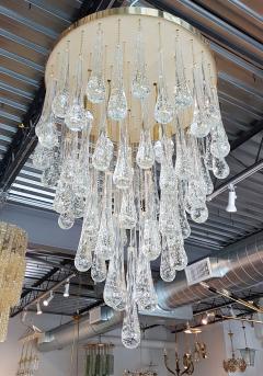 Mid Century Modern Dlightus Bespoke Brass Murano Glass Drop Flush Mount - 547849
