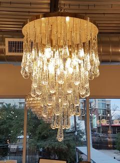 Mid Century Modern Dlightus Bespoke Brass Murano Glass Drop Flush Mount - 547852