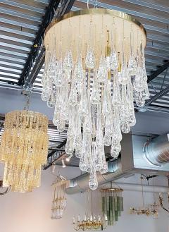Mid Century Modern Dlightus Bespoke Brass Murano Glass Drop Flush Mount - 547853