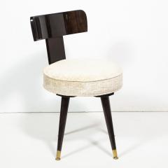 Mid Century Modern Ebonized Walnut and Gauffraged Oyster Klismos Vanity Chair - 1802390