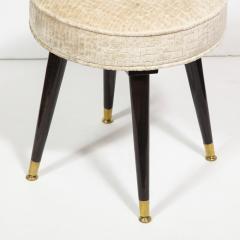 Mid Century Modern Ebonized Walnut and Gauffraged Oyster Klismos Vanity Chair - 1802391