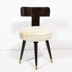 Mid Century Modern Ebonized Walnut and Gauffraged Oyster Klismos Vanity Chair - 1802392