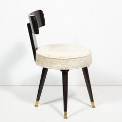 Mid Century Modern Ebonized Walnut and Gauffraged Oyster Klismos Vanity Chair - 1802393
