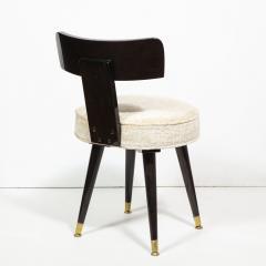 Mid Century Modern Ebonized Walnut and Gauffraged Oyster Klismos Vanity Chair - 1802394