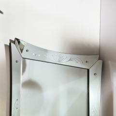 Mid Century Modern Etched and Beveled Venetian Mirror with Dovetailed Corners - 2143423