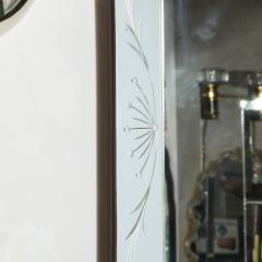 Mid Century Modern Etched and Beveled Venetian Mirror with Dovetailed Corners - 2143425