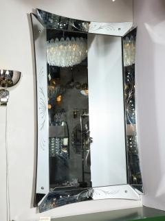 Mid Century Modern Etched and Beveled Venetian Mirror with Dovetailed Corners - 2143452