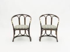 Mid Century Modern French Riviera Bamboo and brass Armchairs 1960s - 1555601