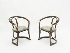 Mid Century Modern French Riviera Bamboo and brass Armchairs 1960s - 1555602