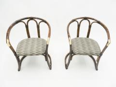 Mid Century Modern French Riviera Bamboo and brass Armchairs 1960s - 1555604