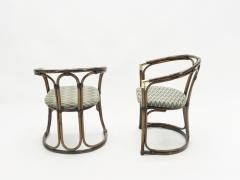 Mid Century Modern French Riviera Bamboo and brass Armchairs 1960s - 1555616