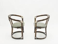Mid Century Modern French Riviera Bamboo and brass Armchairs 1960s - 1555617