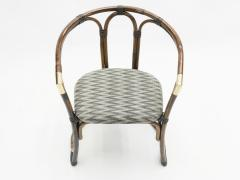 Mid Century Modern French Riviera Bamboo and brass Armchairs 1960s - 1555618