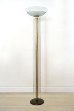 mid century modern glass and brass torchiere floor lamp italy circa - Torchiere