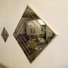 Mid Century Modern Gold Tone Multi Border S 3 Diamond Shaped Wall Mirrors - 605302
