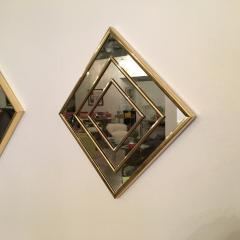 Mid Century Modern Gold Tone Multi Border S 3 Diamond Shaped Wall Mirrors - 605303