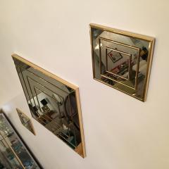 Mid Century Modern Gold Tone Multi Border S 3 Diamond Shaped Wall Mirrors - 605304