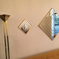 Mid Century Modern Gold Tone Multi Border S 3 Diamond Shaped Wall Mirrors - 605305