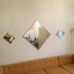 Mid Century Modern Gold Tone Multi Border S 3 Diamond Shaped Wall Mirrors - 605306