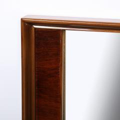 Mid Century Modern Hand Rubbed Walnut Rectilinear Wall Mirror - 2143320