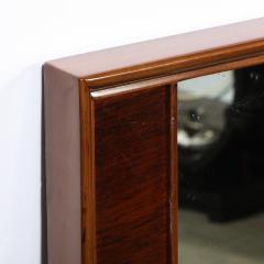 Mid Century Modern Hand Rubbed Walnut Rectilinear Wall Mirror - 2143328