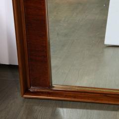 Mid Century Modern Hand Rubbed Walnut Rectilinear Wall Mirror - 2143333