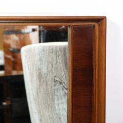 Mid Century Modern Hand Rubbed Walnut Rectilinear Wall Mirror - 2143336