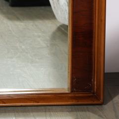 Mid Century Modern Hand Rubbed Walnut Rectilinear Wall Mirror - 2143345
