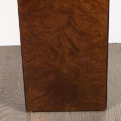 Mid Century Modern Handrubbed Bookmatched Burled Walnut Pedestal - 1560281