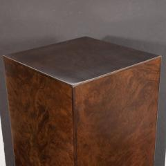 Mid Century Modern Handrubbed Bookmatched Burled Walnut Pedestal - 1560286