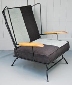Mid Century Modern Iron Chair and Ottoman ca 1950s - 346623