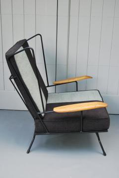 Mid Century Modern Iron Chair and Ottoman ca 1950s - 346624