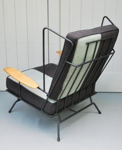 Mid Century Modern Iron Chair and Ottoman ca 1950s - 346625