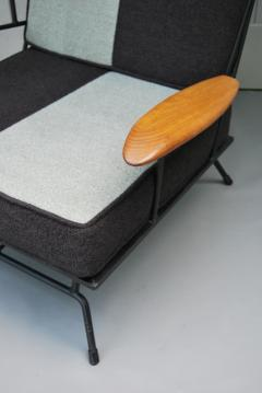 Mid Century Modern Iron Chair and Ottoman ca 1950s - 346626